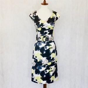 Antonio Melani Pattern Pleated Bodice Dress